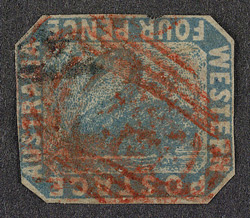 Western Australia: 1854-55 4d blue, error frame inverted, used.